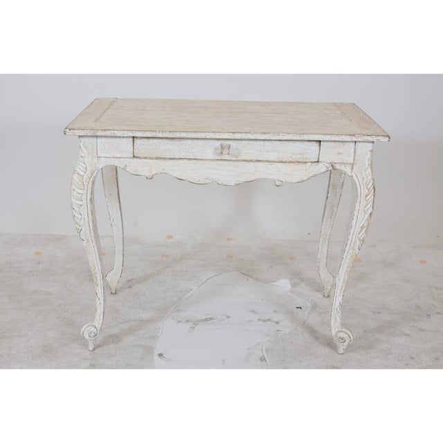 White Painted Gustavian Table With a Single Drawer For Sale - Image 8 of 9