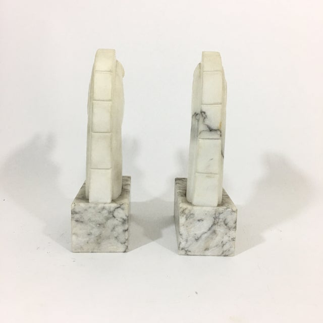 Carrara Marble Marble Trojan Horse Head Bookends For Sale - Image 7 of 9