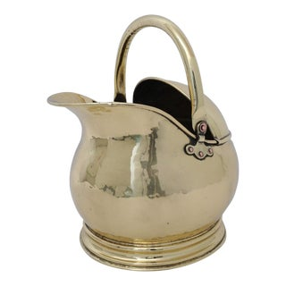 Antique Coal Scuttle Polished Brass for Firewood Holder For Sale