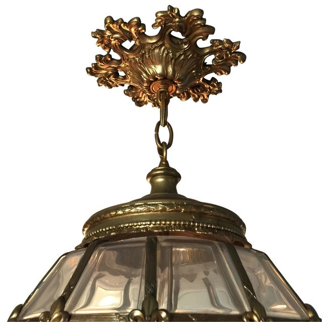 1900 - 1909 Gilt Hanging Lantern With Ceiling Escutcheon For Sale - Image 5 of 10