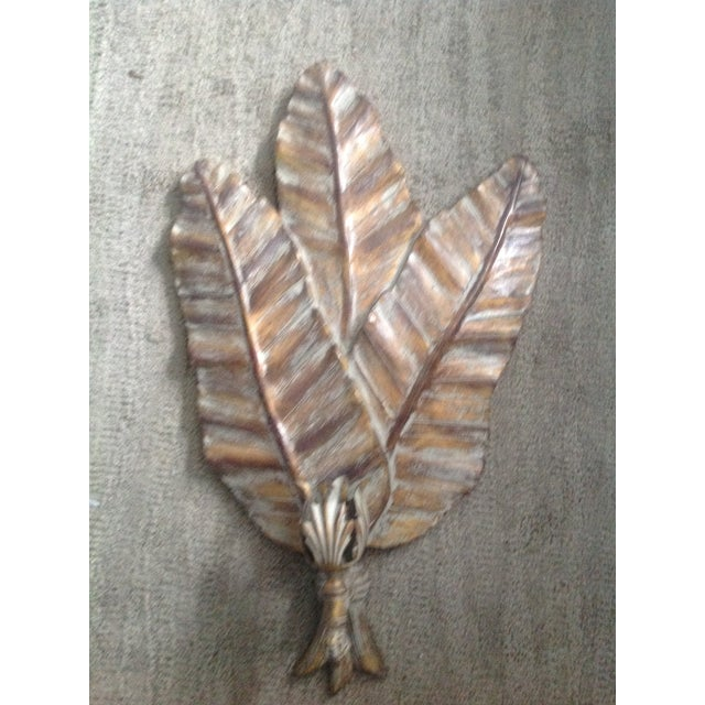 Vintage Gold Wooden Leaf Wall Sconce - Image 2 of 7