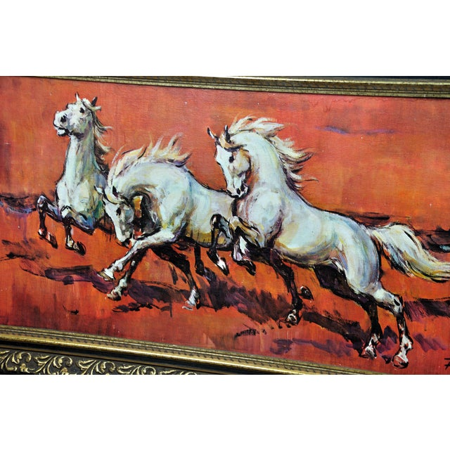 Baroque Vintage Retro 70s Baroque Framed Boots Print Horses on Red by H Faust For Sale - Image 3 of 13