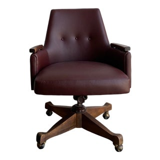 Mid Century Modern Leather Desk Chair For Sale