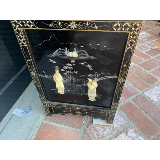 Vintage Black Lacquer Chinoiserie China Cabinet For Sale In Los Angeles - Image 6 of 13