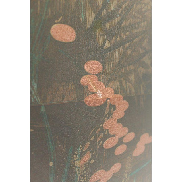 Brown Mid-Century Modern Asian Diptych by Martin Green 36/40 Signed Lithograph For Sale - Image 8 of 11