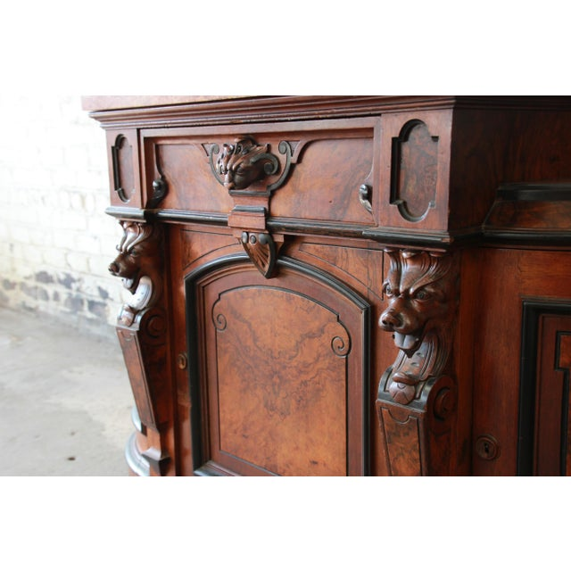 Monumental 19th Century Victorian Ornate Carved Burled Walnut Sideboard For Sale - Image 9 of 13