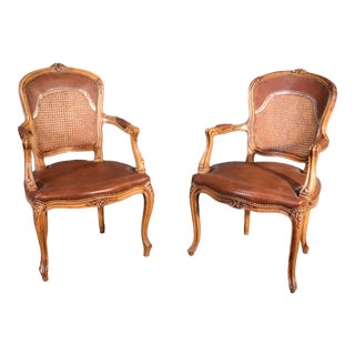 Pair French Carved Caned Back French Louis XV Armchairs Fauteuils C1940 For Sale
