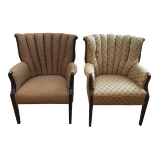 Early 20th Century Vintage Channel Back Chairs- A Pair For Sale