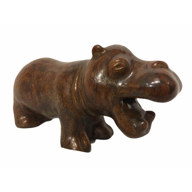 Vintage L. Hjorth Ceramic Hippo by Gertrud Kudielka, Denmark For Sale - Image 11 of 11