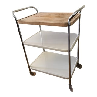 Vintage Rolling Chrome Enamel Bar Cart