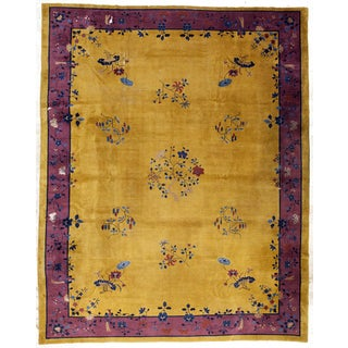 Gold & Purple Antique Art Deco Chinese Rug - 12'x14'