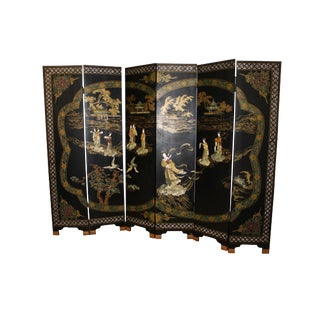 1970s Vintage Lacquer Six Panel Screen For Sale