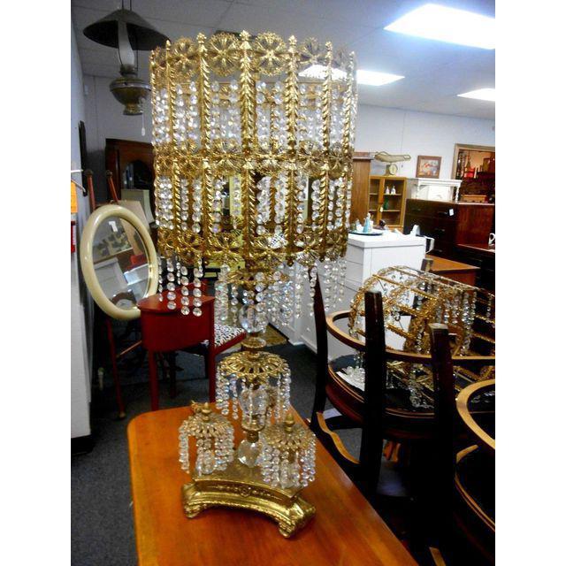 Vintage Hollywood Regency Brass U0026 Crystal Prisms Chandelier Table Lamp For  Sale   Image 5 Of
