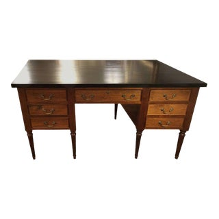 Walnut & Ebonized Top Partners Desk For Sale