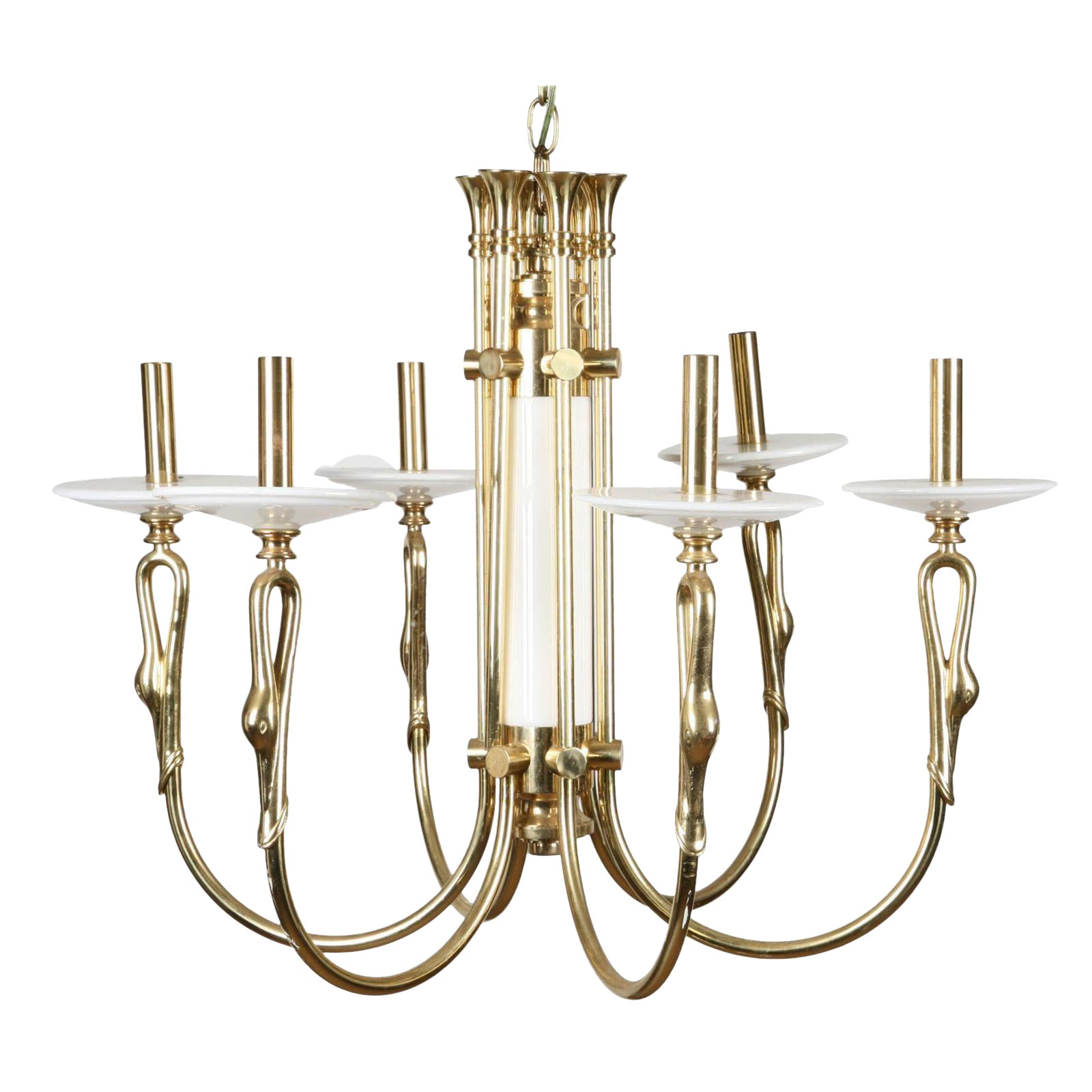 Superior brass marble swan motif six light chandelier decaso arubaitofo Choice Image
