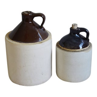Antique Two-Tone Stoneware Jugs, Set of Two For Sale