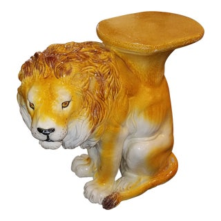 1960s Italian Hollywood Regency Ceramic Lion Garden Seat For Sale