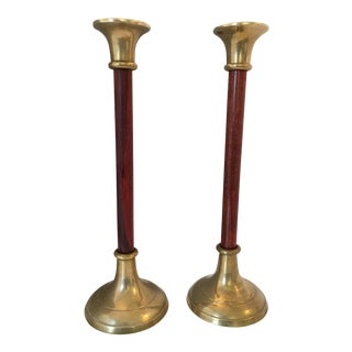 Monumental Wood & Brass Candleholders - a Pair