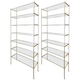 Adesso Imports Tall Brass Etageres - a Pair For Sale