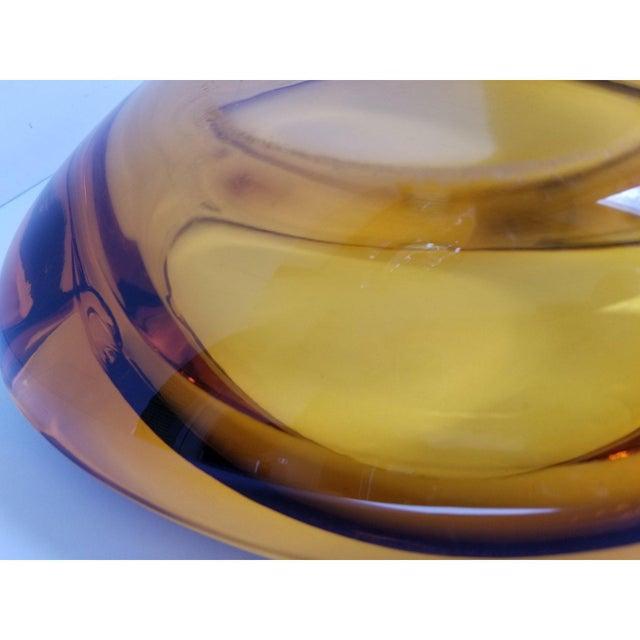 Orange Mid-Century Triangular Amber Glass Ashtray For Sale - Image 8 of 9