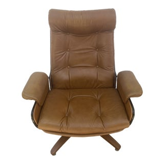 Vintage Plycraft Bentwood Camel Leather Recliner Chair For Sale
