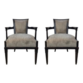 Hickory Chair Modern Black Rubbed Arm Chairs Pair For Sale
