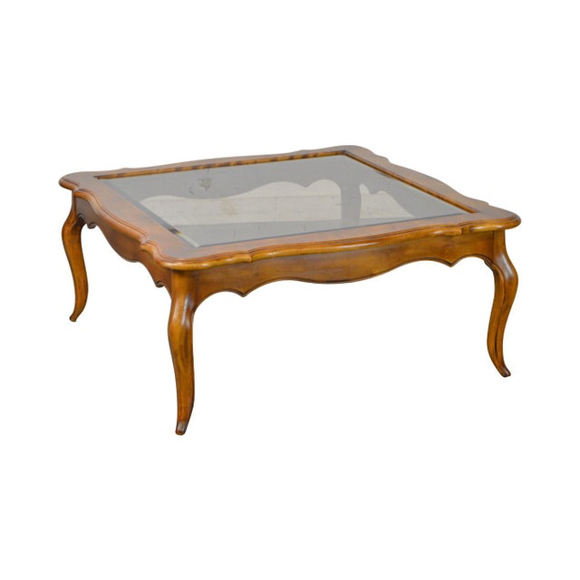 Ethan Allen Country French Solid Maple Square Glass Top Coffee Table - Maple and glass coffee table