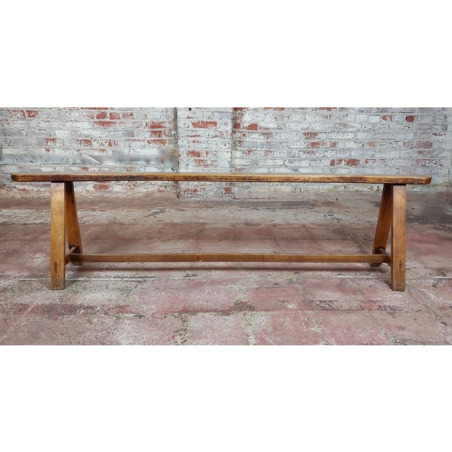 19th Century Antique Walnut Farm Bench For Sale - Image 4 of 11