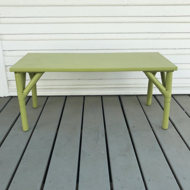 Bamboo 1970s Boho Chic Apple Green Bamboo Coffee Table For Sale - Image 7 of 7