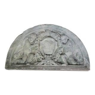 Concrete Victorian Demilune Sculptural Cherub Angel Garden Plaque For Sale