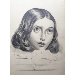 Portrait Drawing of a Young French Girl For Sale
