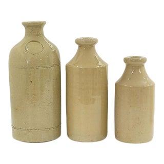Mid-19th Century Earthenware Cream Bottles - Set of 3