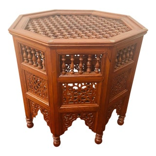 Moroccan Glass Top Carved Wood End Table For Sale