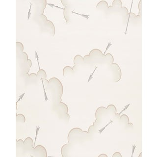Schumacher X Charlap Hyman Herrero Mercurio Wallpaper in Natural For Sale