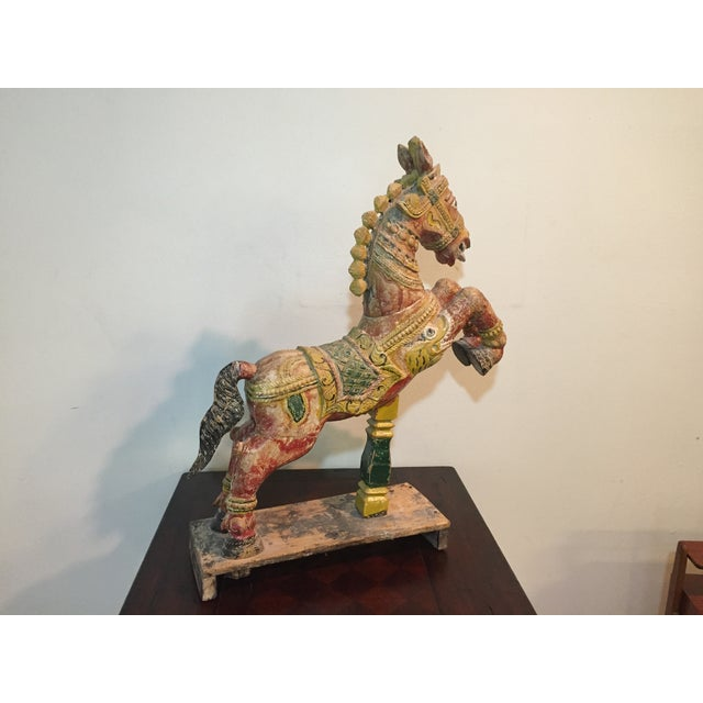 Indian Painted Wood Horse - Image 7 of 11