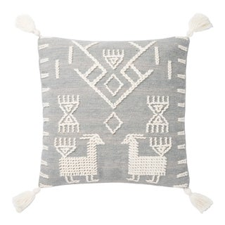 """Justina Blakeney X Loloi Grey / Ivory 22"""" X 22"""" Cover with Down Pillow For Sale"""