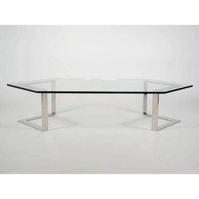 Chrome And Glass Coffee Table By Directional - Image 4 of 10