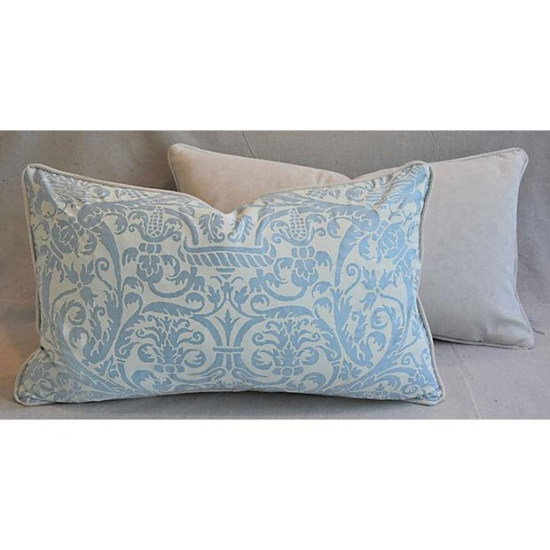 "Blue 26"" X 16"" Custom Tailored Italian Fortuny Uccelli Feather/Down Pillows - a Pair For Sale - Image 8 of 11"