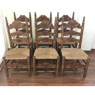 Set of Six Chairs, Turned and Carved Wood, With Straw Seat of the 20th Century Preview