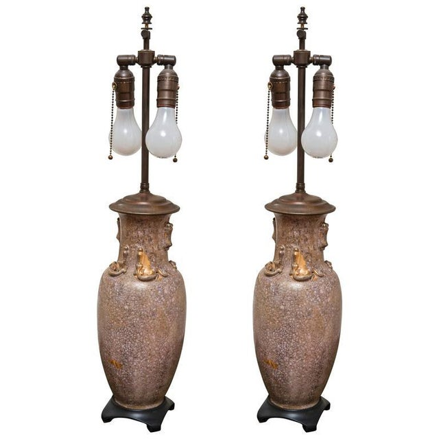 Traditional Shimmering Blush Ceramic Lamps - a Pair For Sale - Image 4 of 4