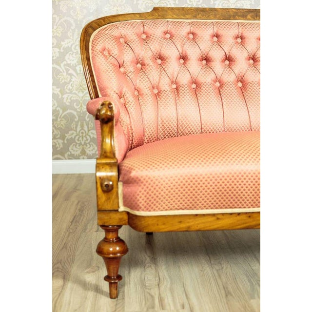 Late 19th Century Tufted Pink Mahogany Sofa Circa 1890 For Sale - Image 5 of 9