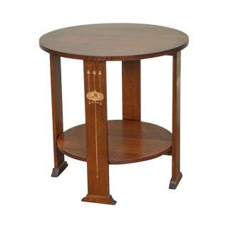 Stickley Mission Oak Round Harvey Ellis Inlaid Lamp Table