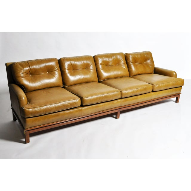 Americana Mid-Century Modern Green Leather Sofa With Hardwood Base by Edward Wormley For Sale - Image 3 of 11