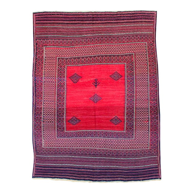 Red & Blue Vintage Turkish Kilim Rug - 6′ × 7′ For Sale