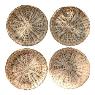 Vintage Natural Wicker Plate Holders - Set of 4 For Sale