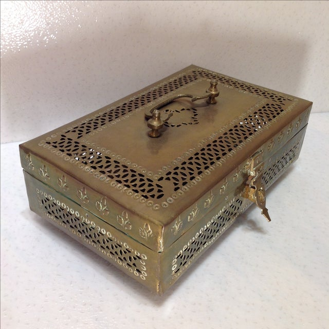 Ornate Vintage Hinged Brass Box - Image 5 of 10