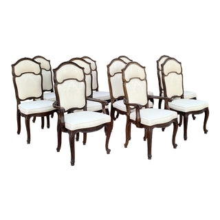 Set of 10 - Louis XV Style Upholstered Dining Chairs by Mastercraft For Sale