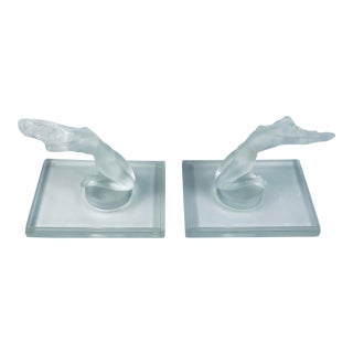 Modern Frosted Crystal Lalique Chrysis Nude Bookends - a Pair For Sale