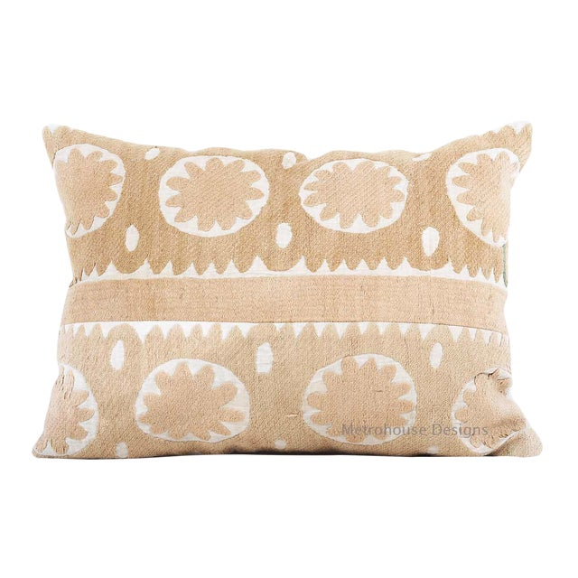 Vintage Cotton Embroidered Suzani Accent Down Feather Pillow For Sale