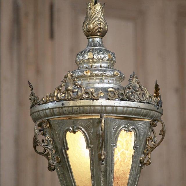 Baroque 19th Century Venetian Silvered Brass Lantern Chandelier For Sale - Image 3 of 9